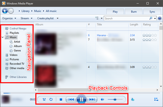Windows Media Player: Navigation panel and controls