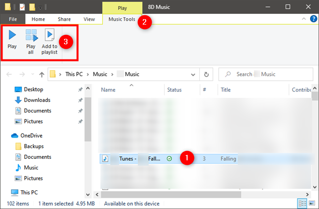 Play music in Windows Media Player from File Explorer