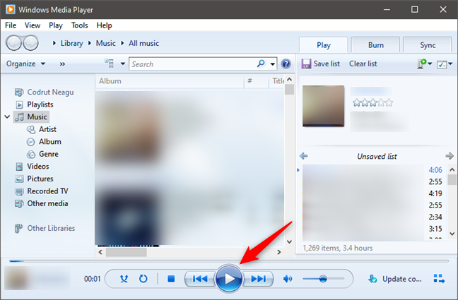 How to play all music in Windows Media Player