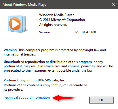Technical Support Information for Windows Media Player