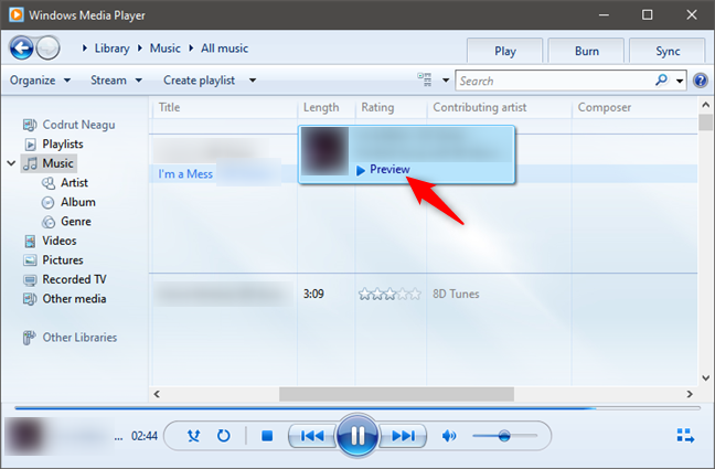 Preview a song in Windows Media Player