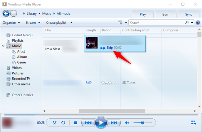 Skipping while previewing a song in Windows Media Player