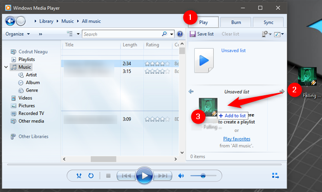 Play music in Windows Media Player that's not part of the library