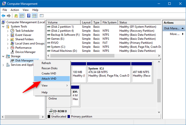 Attach VHD in Disk Management