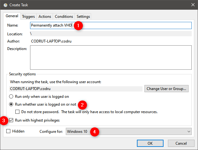 How to permanently attach a VHD: General settings for the task