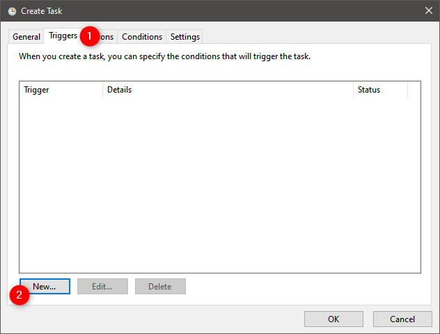 How to permanently attach a VHD: Triggers for the task