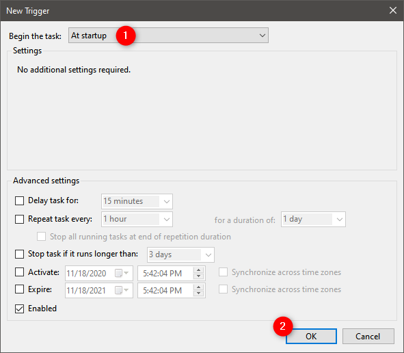 How to permanently attach a VHD: Trigger is At startup
