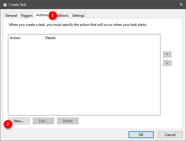 How to permanently attach a VHD: Actions for the task