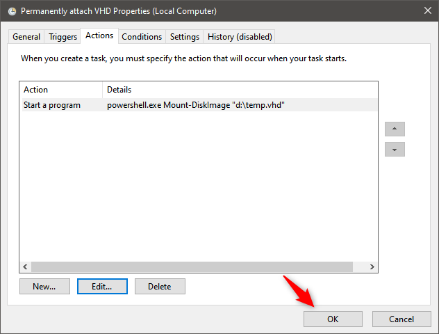 How to permanently attach a VHD: Saving the task in Task Scheduler