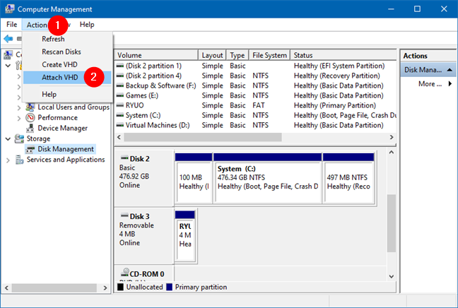 Attach VHD in the Actions menu from Disk Management