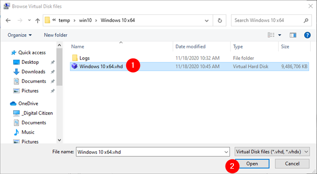 Browse Virtual Disk files and select the one to mount
