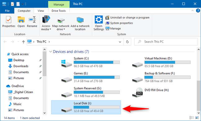 A partition from a VHD file shown in File Explorer