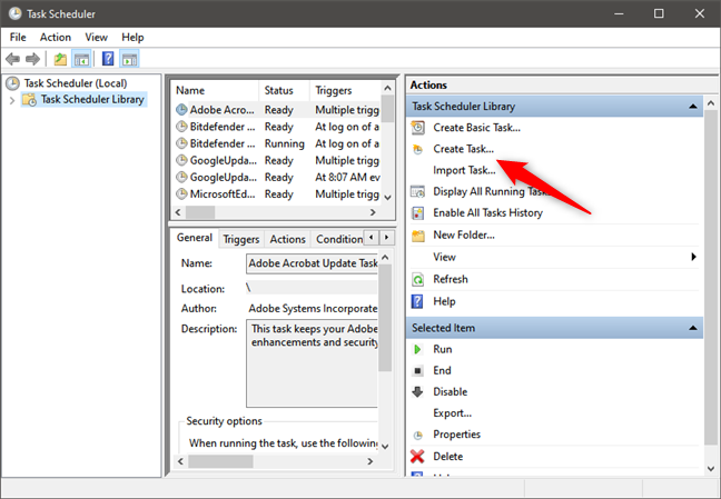 How to permanently attach a VHD: Create Task in Task Scheduler
