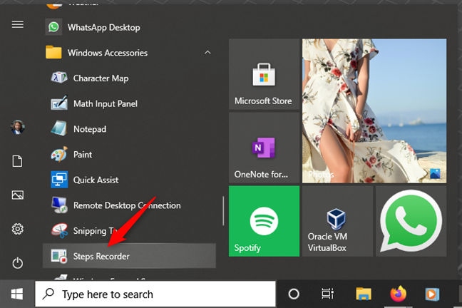 Open Steps Recorder in Windows 10 from the Start Menu