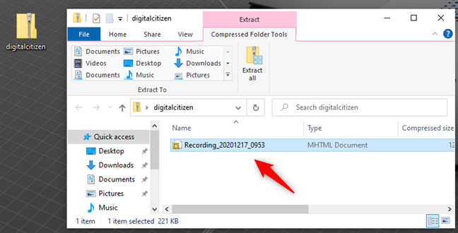 Steps Recorder saves recordings as mhtml files inside ZIP files