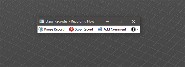 Recording steps in Windows 10 with Steps Recorder