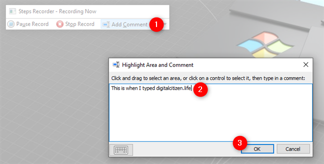 Adding a comment in Steps Recorder