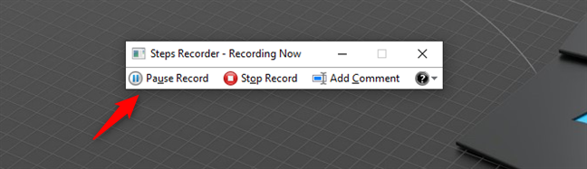 Pause record in Steps Recorder