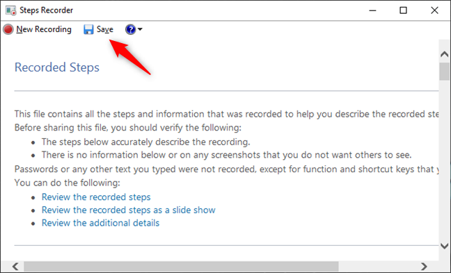 Save a recording with Steps Recorder