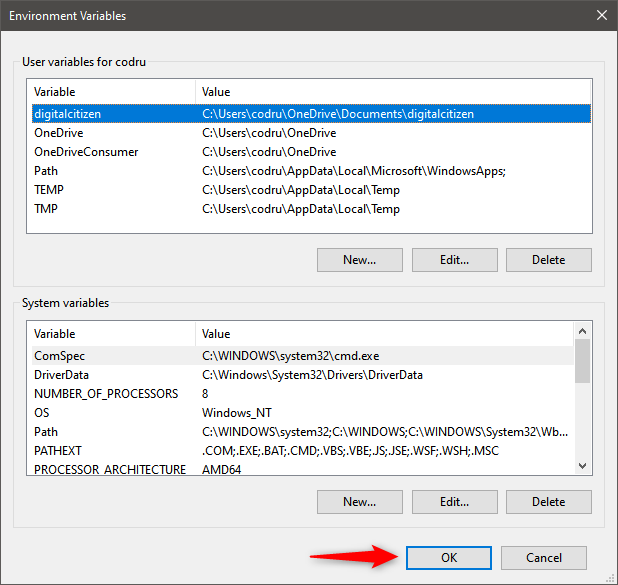 Saving the new user variable in Windows 10