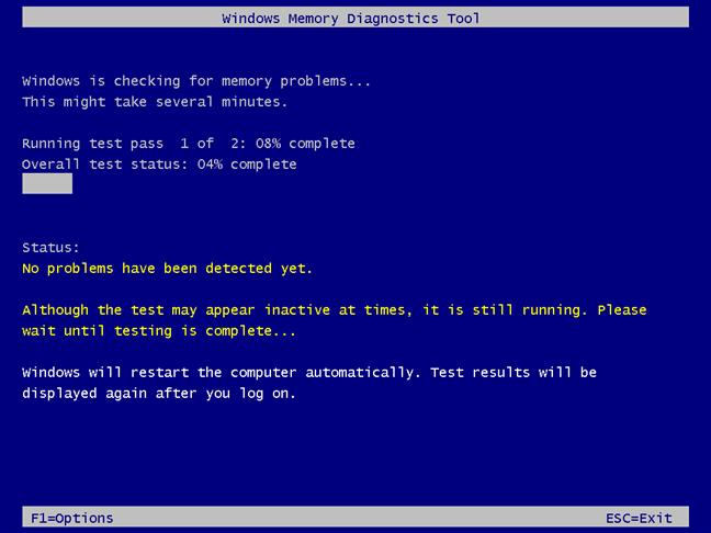 Windows Memory Diagnostic runs two Standard test passes