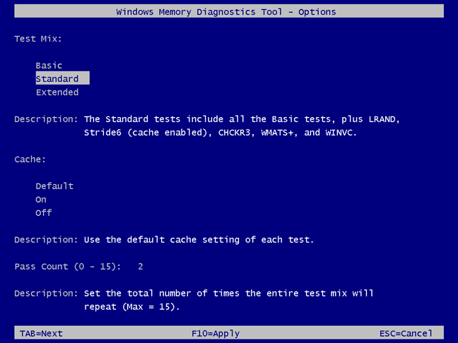 Windows Memory Diagnostic - set things your way