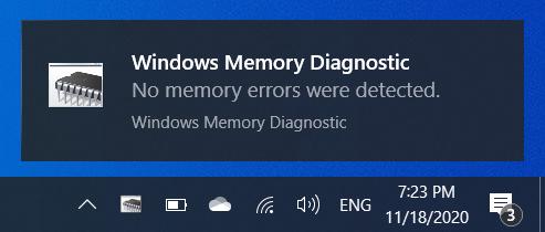 Windows Memory Diagnostic notification