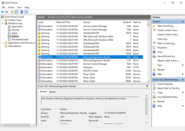 In Event Viewer, look for MemoryDiagnostics-Results