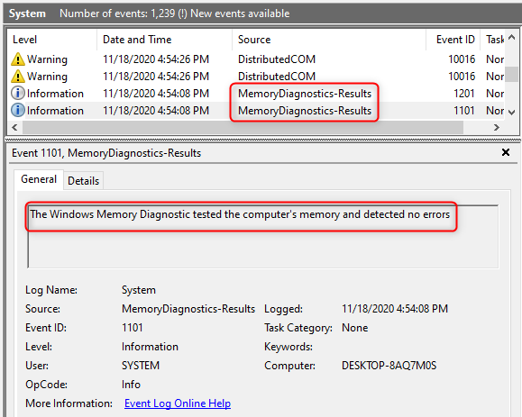 Event Viewer shows details about the Windows Memory Diagnostic