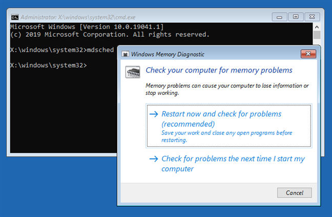 Starting Windows Memory Diagnostic from CMD