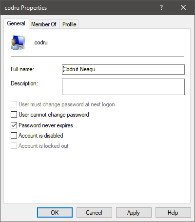 Properties of a user account