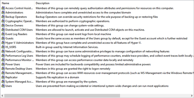 List of user groups in Windows 10 shown by lusrmgr.msc