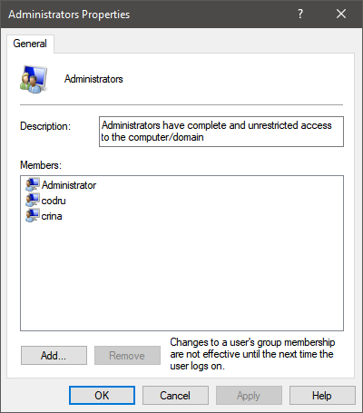 Properties of the Administrators group in Windows 10