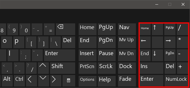 Special buttons on the Windows 10 virtual keyboard