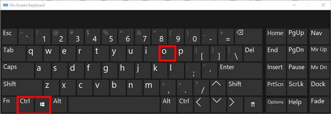 The On-Screen Keyboard from Windows 10
