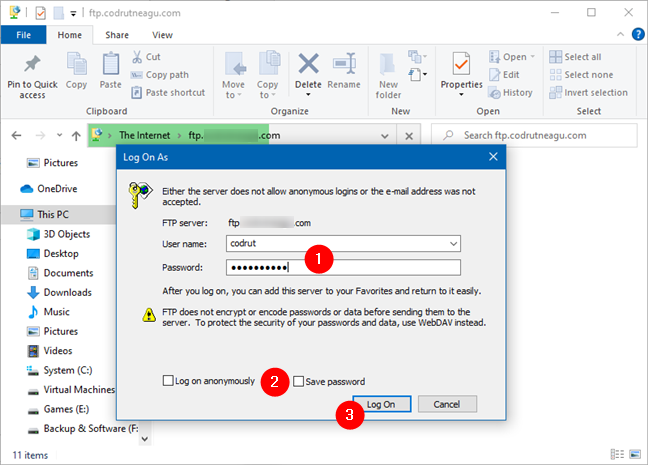 Entering the username and password for an FTP account in Windows 10