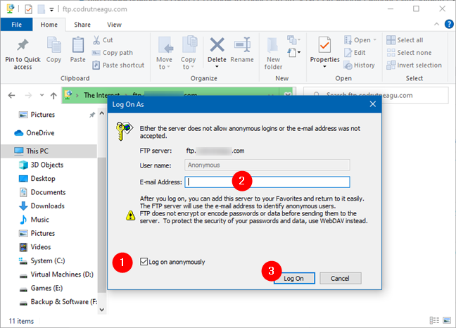Using File Explorer to connect to an FTP server anonymously