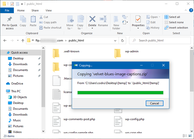 File and folder management on an FTP server is done as usual