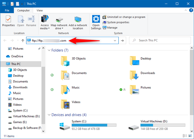 Entering the address of an FTP server in Windows 10's File Explorer