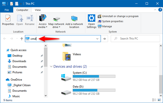 Type the command you want to run in the address bar of File Explorer