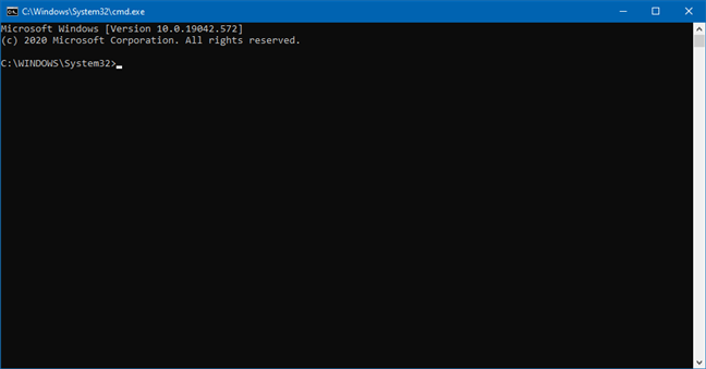 Command Prompt opened from File Explorer