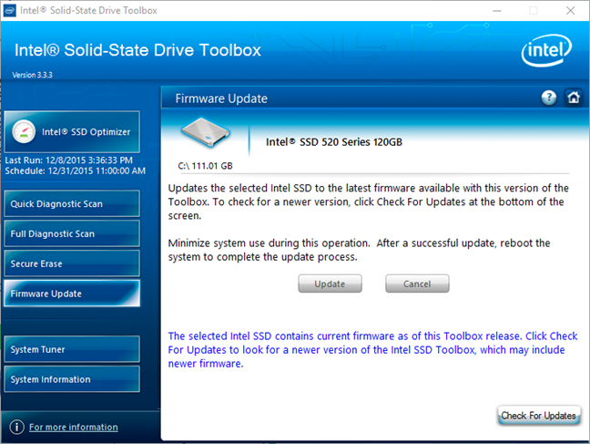 Intel Solid-State Drive Toolbox lets you do a firmware update for Intel SSDs