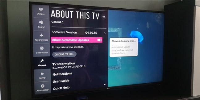 Firmware update on an LG smart TV