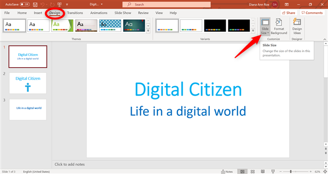 Change size of PowerPoint slide from the Design tab