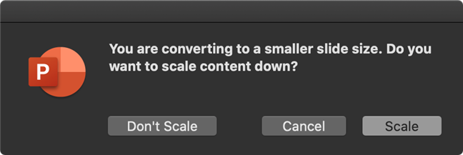 Decide to scale or keep your original content when resizing your PowerPoint slides