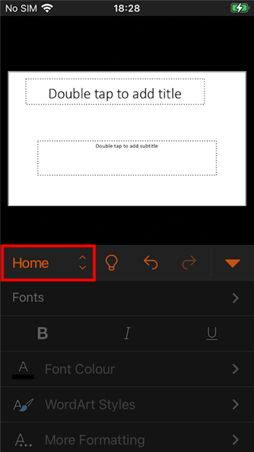 Press Home to change the PowerPoint tabs on your iPhone