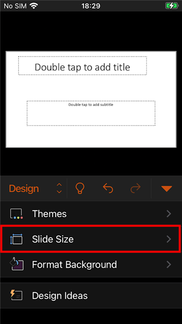 Press the PowerPoint Slide Size button shown on the iPhone