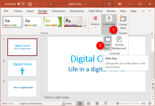 Press the PowerPoint Slide Size button