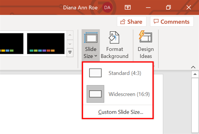 In PowerPoint, change Slide Size using one of these three options