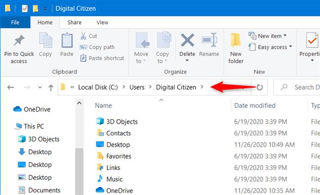 A user account folder from Windows 10